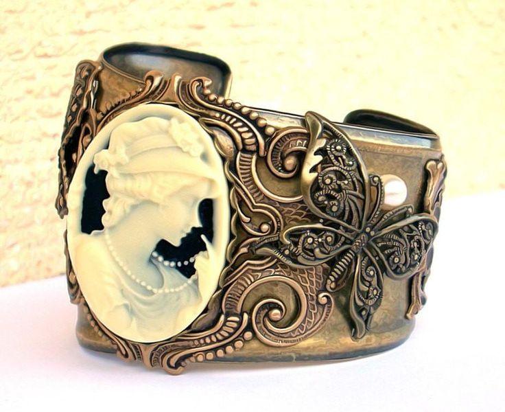 Cameo Brass Cuff Bracelet – Aranwen's Gothic Jewelry