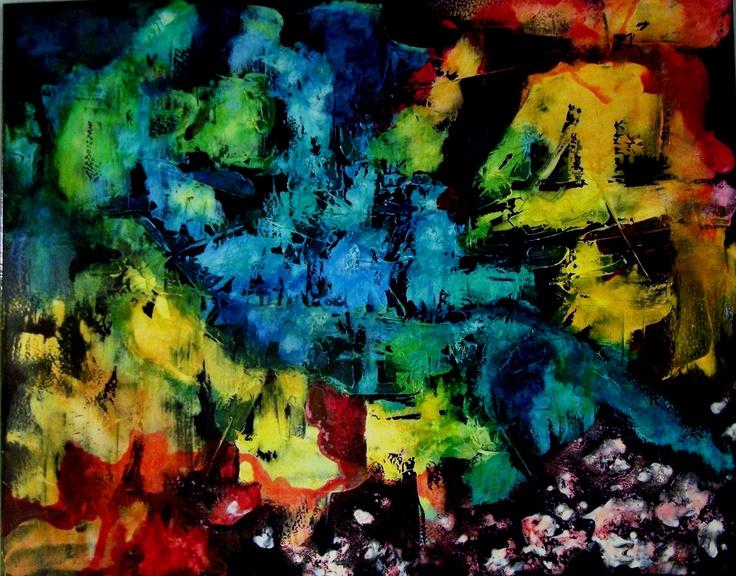 'Battle for Dominion', mixed media on canvas, 100cms x 80cms