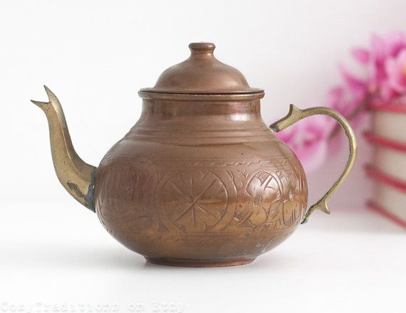 Copper Moroccan Teapot: Vintage Mediterranean Teapot with Engraved Decorations, Metal Teapot, Middle Eastern Style Decor