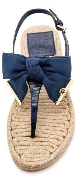 Tory Burch ~ Navy Leather + Bow Espadrilles