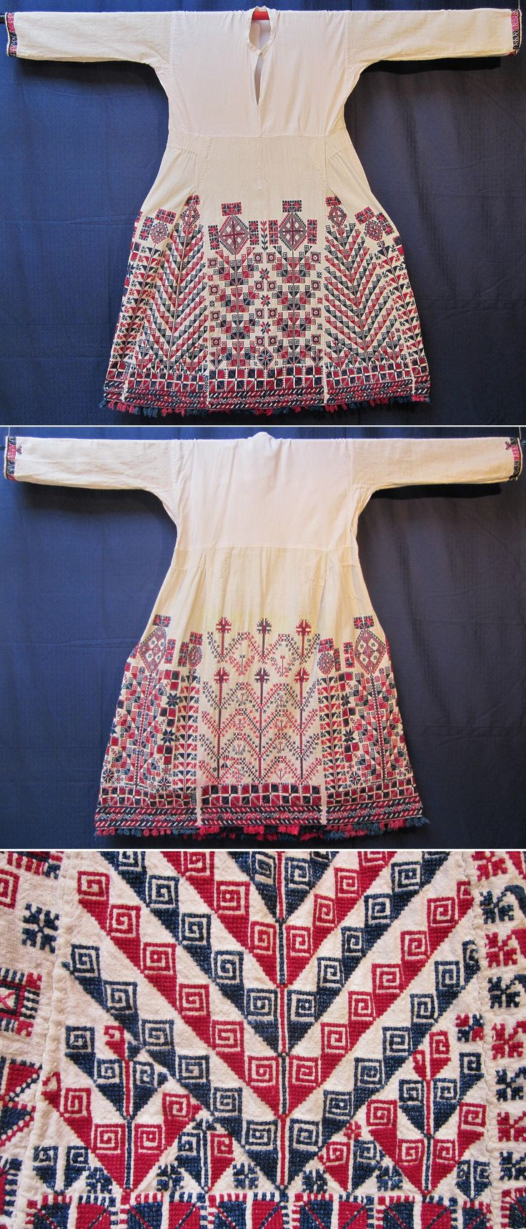 Front & rear of a traditional bridal/festive 'göynek' (underdress) from the Türkmen village of Durabeyler, near Dursunbey (80 km east of Balıkesir), ca. 1925-1950.  Hand woven cotton; the bottom half is lavishly adorned with cotton embroidery (squares, diamonds, crosses, stylized flowers & tree-of-life motifs). The lower edge features small cotton tassels. (Inv.n° gnk039 - Kavak Costume Collection-Antwerpen/Belgium).