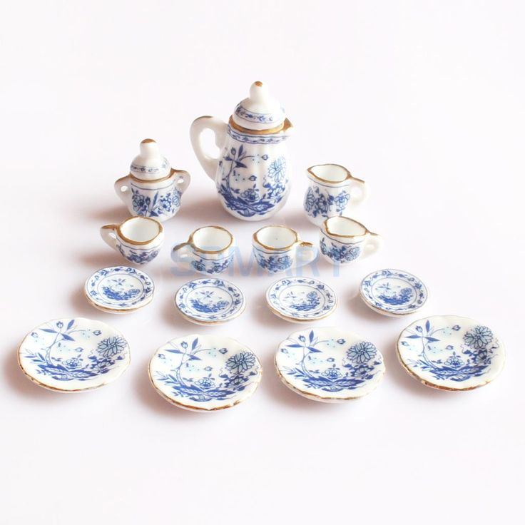 $13.95 - Awesome 15 Peices Dolls House Miniatures Dining Ware Porcelain Tea Set Pot Dish Cup Plate Blue Flower - Buy it Now!