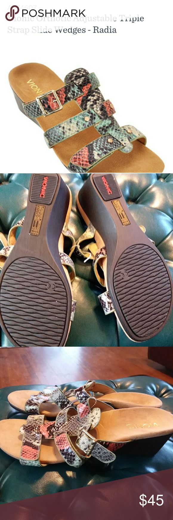 Vionic. sz 8 Radia Triple Strap sandal QVC item return. Very nice preowned condition. Smoke free. Sz 8. Has QVC item number written on bottom of soles.  Very nice. Vionic Shoes Sandals