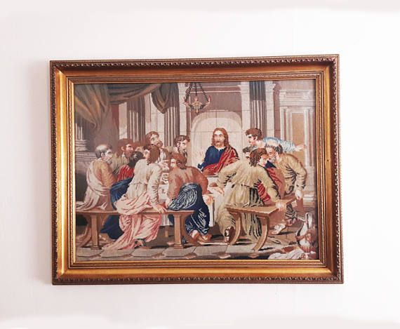Very Large and Heavy Antique French Tapestry  The Last Supper