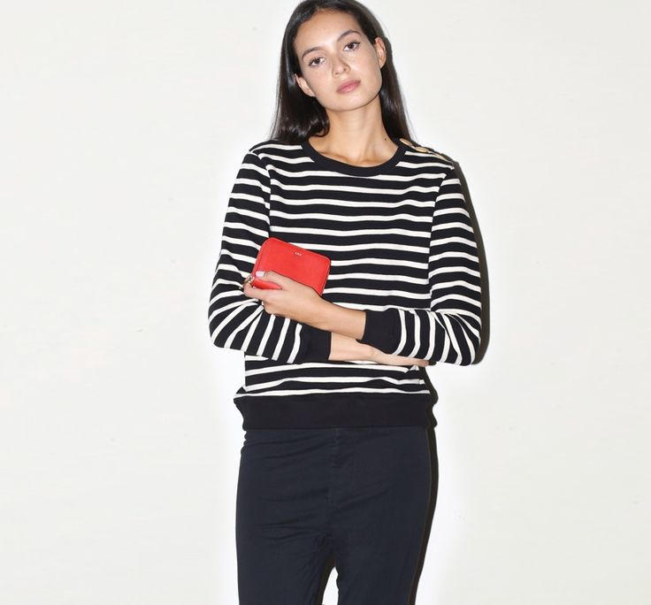 March 2014: A.P.C. Marin Sweat in Black/White Stripe. A.P.C. Zip Wallet in Rouge. bassike Slim Tapered Trackpant in Black.