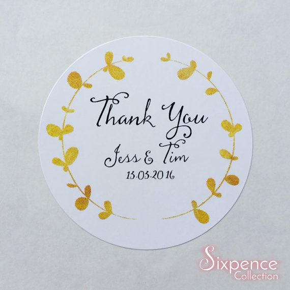 48 x White Gloss Personalised Gold Laurel Thank You Envelope