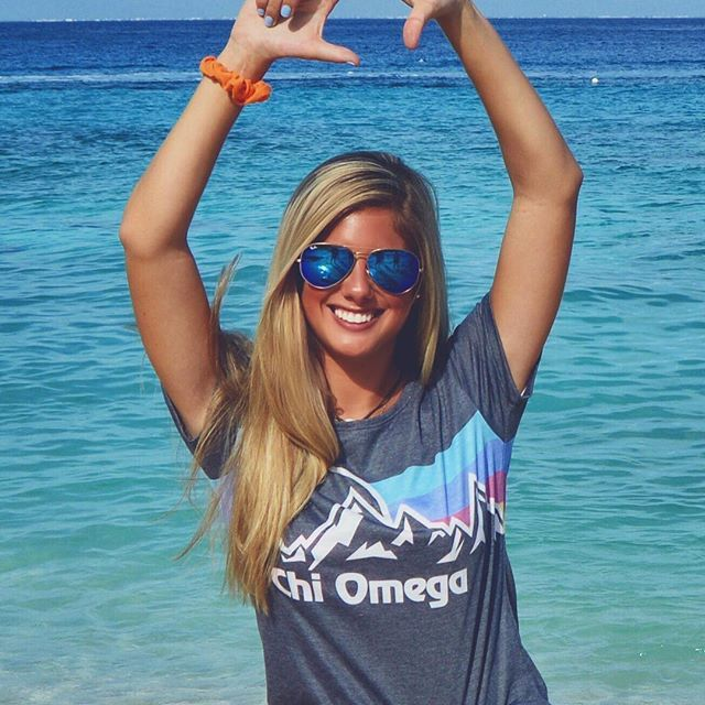 Our mountain sublimation tee is perfect for all locations land to sea <3 #recruitment #sororityshirts #bidday