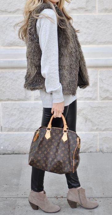 Faux leather leggings look perfect with this fur vest & booties!