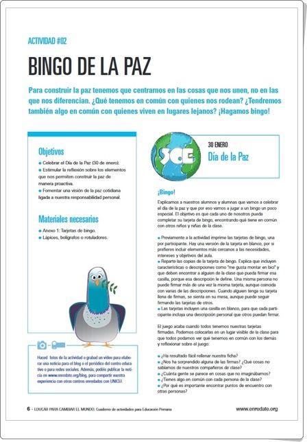"""""""Bingo de la  Paz"""" (Educación Primaria). Unicef."""