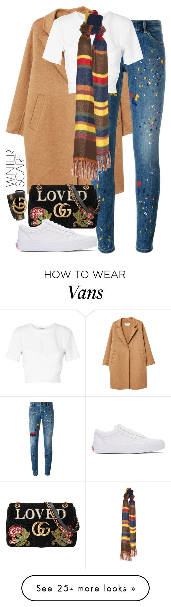 """""""Smile"""" by hipster-bohemian on Polyvore featuring MANGO, Alice + Olivia, T By Alexander Wang, Gucci, Vans and winterscarf"""