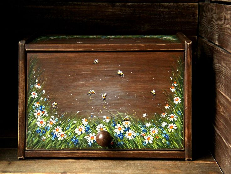 """Купить Деревянная хлебница """"Пчелы на лугу"""" - зеленый, хлебница, деревянные изделия, изделия из дерева"""