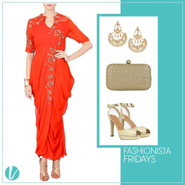 """It's """"Fashionista Friday"""" Ladies! Be a stunner this upcoming Festive Season! Shop this Look by Product Code - ( Daped Dress : 50494, Ear Rings : 41013, Clutch : 40925, Peep Toes : 147613) #fashionistafridays #ethnicchic #festivewear #statementlook #goldaccents #designerwear #premium #vilara"""