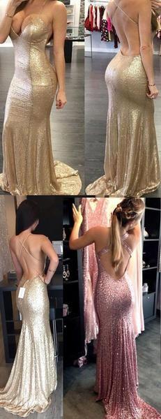 Sexy Backless Halter Mermaid Sequin Bridesmaid Dress Cheap Long Prom Dress…