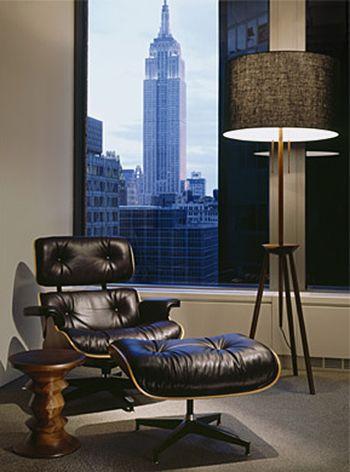 #Eames Lounge Chair and #Eames Walnut Stool and #NYCskyline