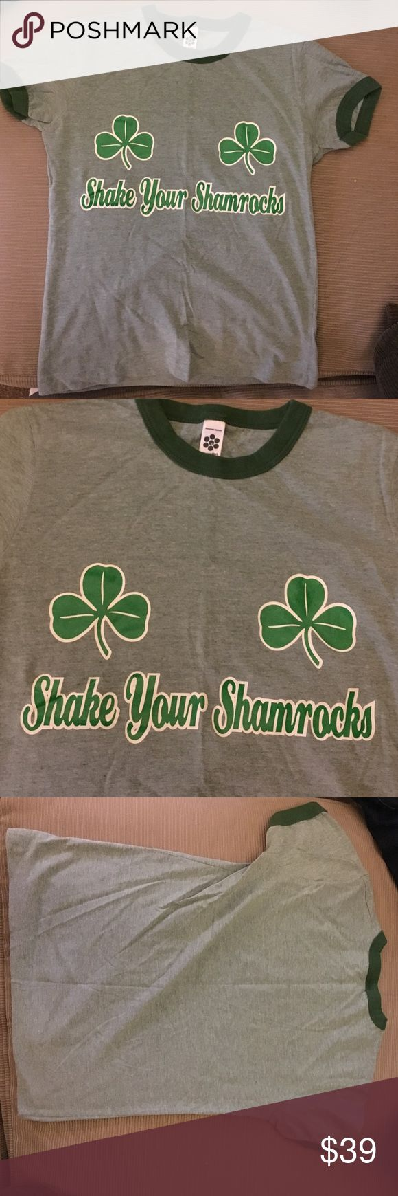 "☘️American Apparel ""Shake Your Shamrocks"" Tshirt☘️ Very rare American Apparel. Approximately 20.5 inches long.  Fits more like an XS.  Worn once.  Fabulous for St. Patrick's Day! American Apparel Tops Tees - Short Sleeve"