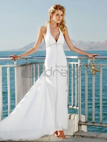 hvit dyp v-hals midje beading enkle brudekjoler