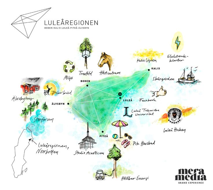 A handdrawn map over Luleåregionens five municipalities.  Luleåregionen is a region of the future. Every day tens of thousands of people commute between the region's main centers Boden, Kalix, Luleå and Piteå. There are great opportunities, and drive and skills to take advantage off. Luleåregionen improve the region's resources, conveys energy to Sweden, receives tourists from all over the world and researching for the future.