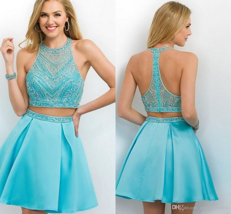 2016 Beautiful Green Cheap Homecoming Dresses Halter Crystal Beaded Embellished Two Pieces Sexy Open Back Draped Formal Party Evening Gowns Homecoming Dress Under 50 Homecoming Dresses Cheap For Juniors From Molly_bridal, $88.23| Dhgate.Com