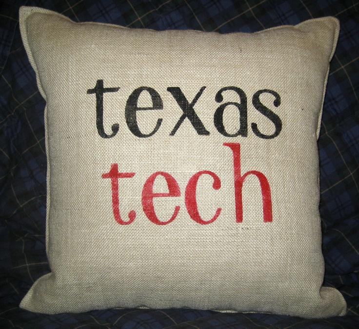 STENCILED TEXAS TECH Burlap Pillow