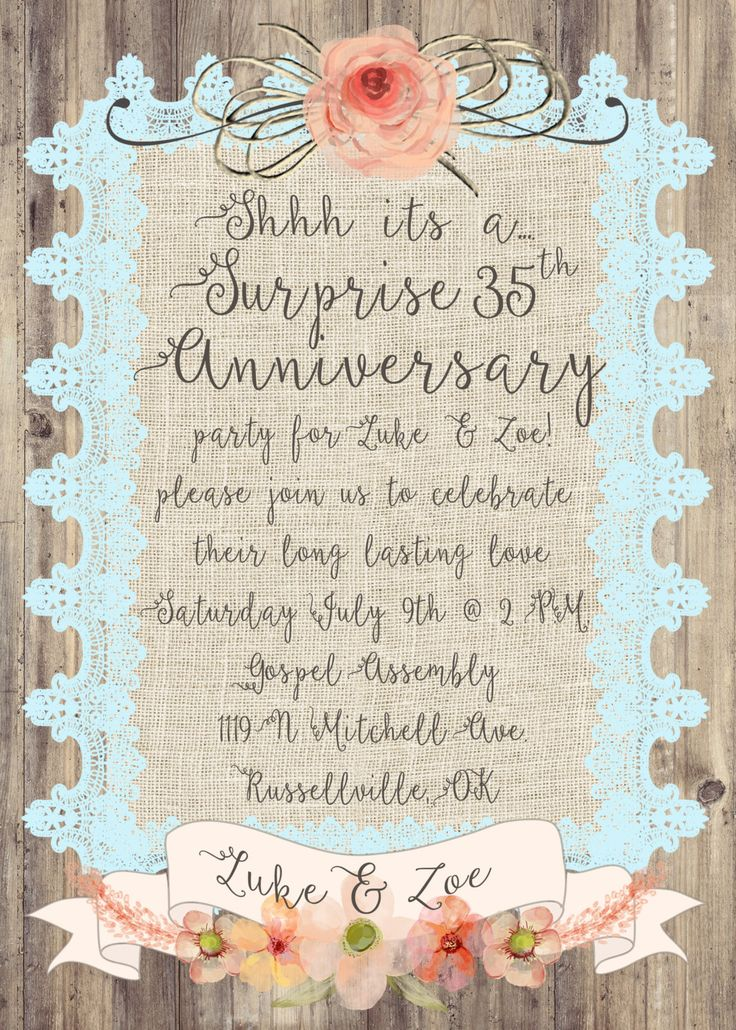 Cutesy Surprise Anniversary Invitation, Burlap and lace, rustic card, wood and burlap, wedding anniversary invitation, burlap, lace, wood by UtopianSociety on Etsy