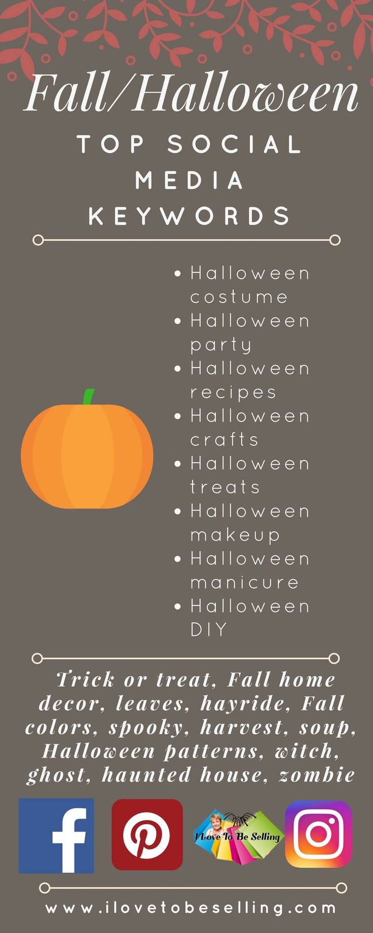 Top search words for Halloween and Fall you can use for social media posts for your eBay items! I've got more social media for you sellers. Head over to ->http://bit.ly/2tKJBah