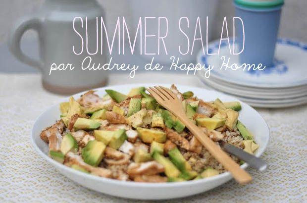 Salade Quinoa/Boulgour/avocat/blancs d epoulet/Sésame