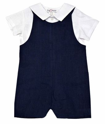 Jack and Teddy Baby / Toddler Boys Navy Blue Linen Shortall with White Sailor Shirt