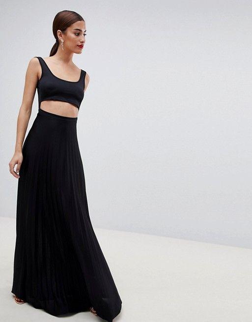 996a8b0ba9 DESIGN crop top pleated maxi dress in 2018