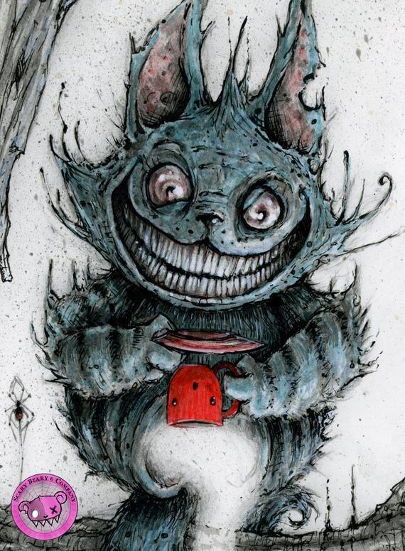 Cheshire Cat Impresion De Arte Etsy Cheshire Cat Art Cat Art Print Scary Drawings