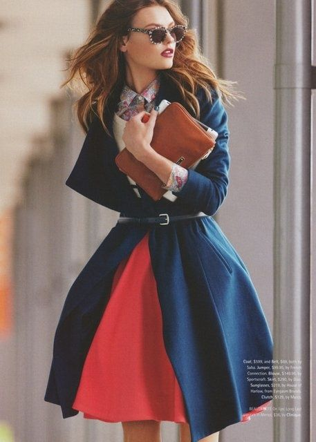 : Colors Combos, Full Skirts, Style, Fall Looks, Fall Outfits, Blue Coats, Trench Coats, Knits Sweaters, Red Skirts