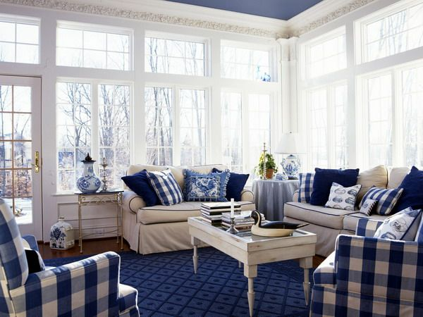Navy And White Buffalo Check Reupholster The Wing Chairs
