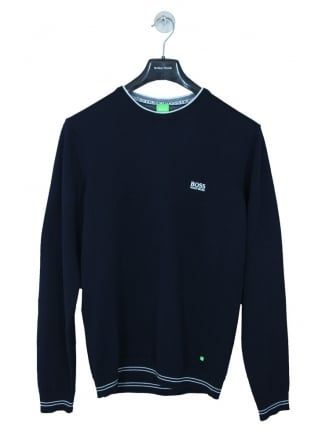 Hugo Boss Green Rime Crew Neck Knit in Navy - Northern Threads