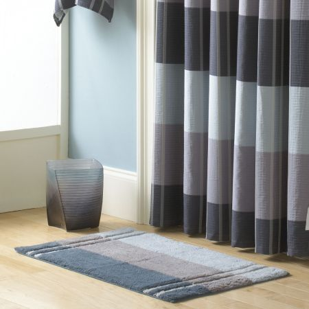 Croscillu0027s Fairfax Slate Bath Rug Is Sleek And Contemporary. The Cotton Bath  Rug Features Stripes Of Charcoal, Grey And Light Blue Which Create An Ombre  ...