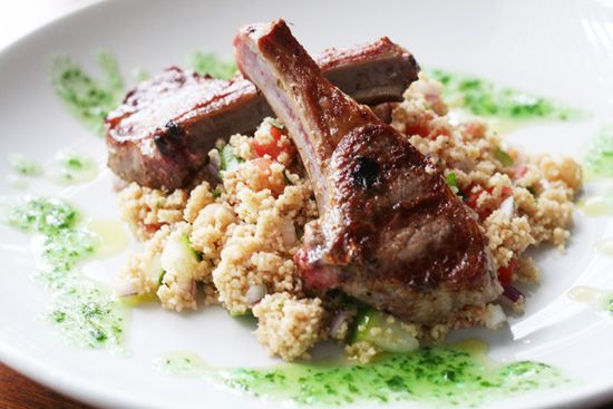 Marinated Lamb Chops with Couscous Tabbouleh and Mint Mojo  Serves 4 Click on the picture for the full recipe!