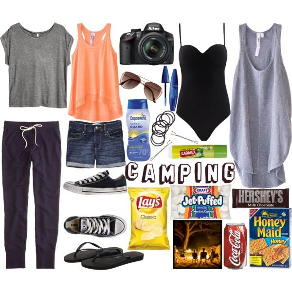 """Camping"" by kristinandcanon on Polyvore. #camping packing list clothes shoes food"