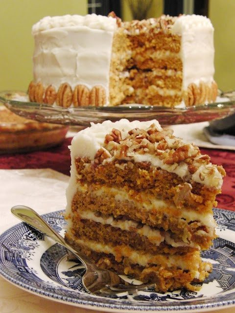 4-layer Pumpkin Cake with Brown Sugar Cream Cheese Frosting and Pecans