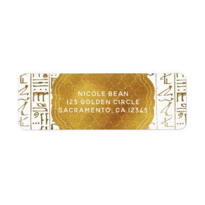 Gold White Egyptian Egypt Eye Glam Modern Wedding Label - bridal shower gifts ideas wedding bride