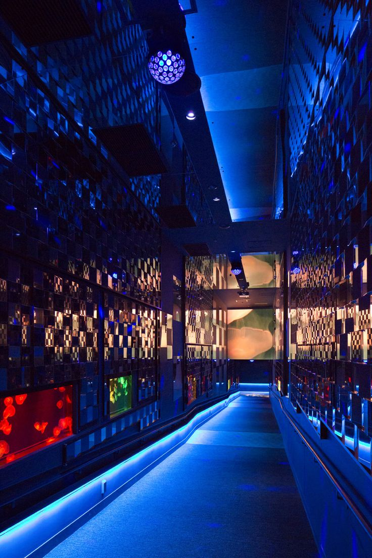 ◇Sumida Aquarium - Jellyfish Infinity Tunnel A design in the style of the Tokyo aquarium, aiming for the movie-like quality of an indoor aquarium. The slope and its simple flowing lines are a spatial device to give the feeling and illusion of a dream (movie). This creates a feeling as though one is, oneself, being projected and floating forever in a pool of water. (Designed by Shuwa Tei) #Japan #Tokyo #design #Interior #aquarium #ShuwaTei