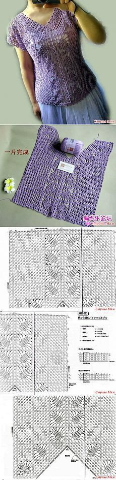 Openwork top with a central pattern of pineapples.  Hook.  - Knitted fashion + to NEMODELNYH LADIES - Home Moms
