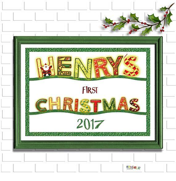 Printable Christmas Sign, Personalised 1st Year Christmas, Digital Christmas Photo Prop, Christmas Wall Art, Christmas Nursery Decor