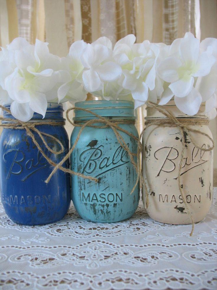 pinterest mason jar bridal shower favors%0A Mason Jars  Painted Mason Jars  Rustic Baby Shower Decorations  Dark Blue   Light Blue And Creme Mason Jars