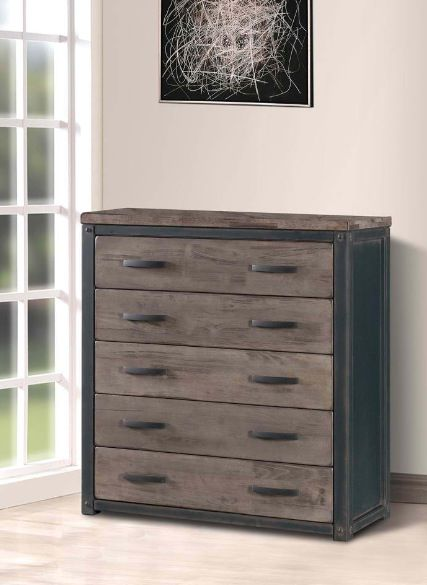 new dresser for sons rustic industrial bedroom -heritage 5 drawer chest