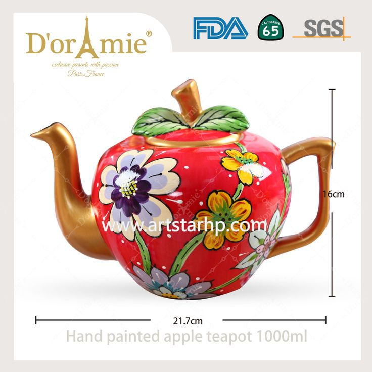 Hand painted personalized apple teapot made in china