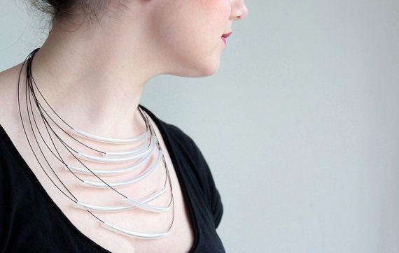 Minimalist Necklace Black Urban Geometric Contemporary by zdrop, $35.00