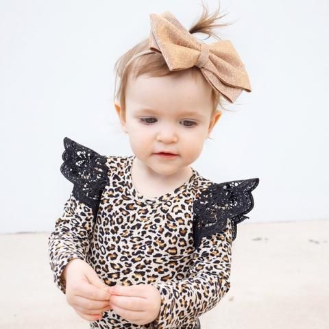 'Wild Child' Long Sleeve Leopard Bodysuit With Wings