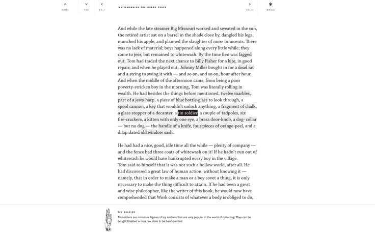 // Getting closer to our reading state with Navigation bar on top (as minimal as it can be) and text highlights (of a...
