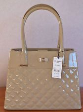 LK Bennett Oakes Handbag TAUPE PATENT LEATHER QUILTED New with defects