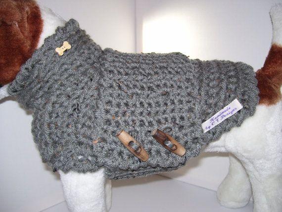 Large Dog Clothes Grey Dog Sweater Dog by CTDESIGNSBESPOKEBAGS