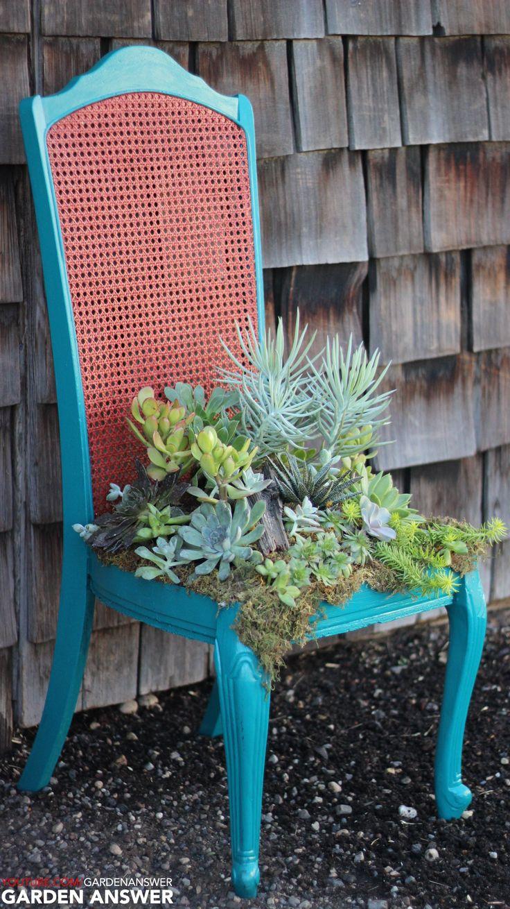 Beautiful planter via a thrift store chair