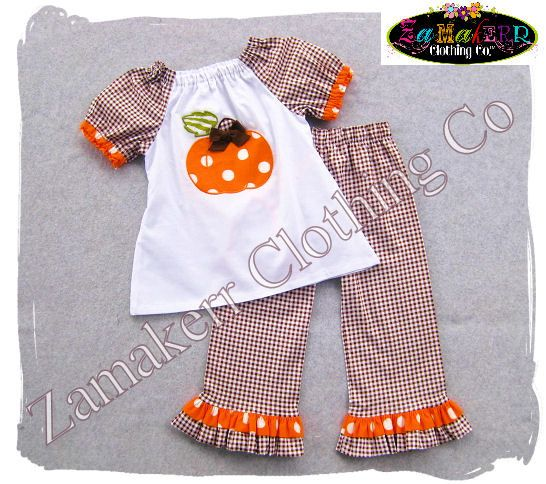 Girl Pumpkin Outfit- Thanksgivng Turkey Custom Boutique Baby Girl Turkey Fall Pant Set 3 6 9 12 18 24 month size 2T 2 3T 3 4T 4 5T 5 6 7 8 via Etsy